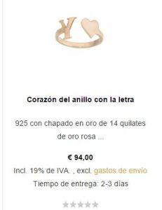 925 con chapado en oro de 14 quilates  de oro rosa
