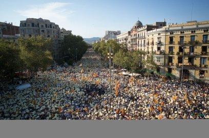 Vista general de la manifestacion a la altura del Arco del Triunfo.